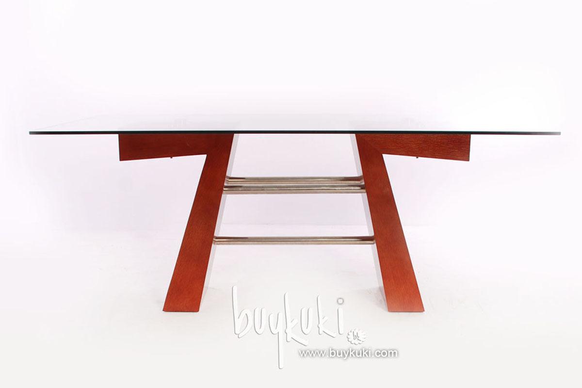 Mesa de comedor dise o elegante cristal y madera buykuki for Mesa diseno cristal