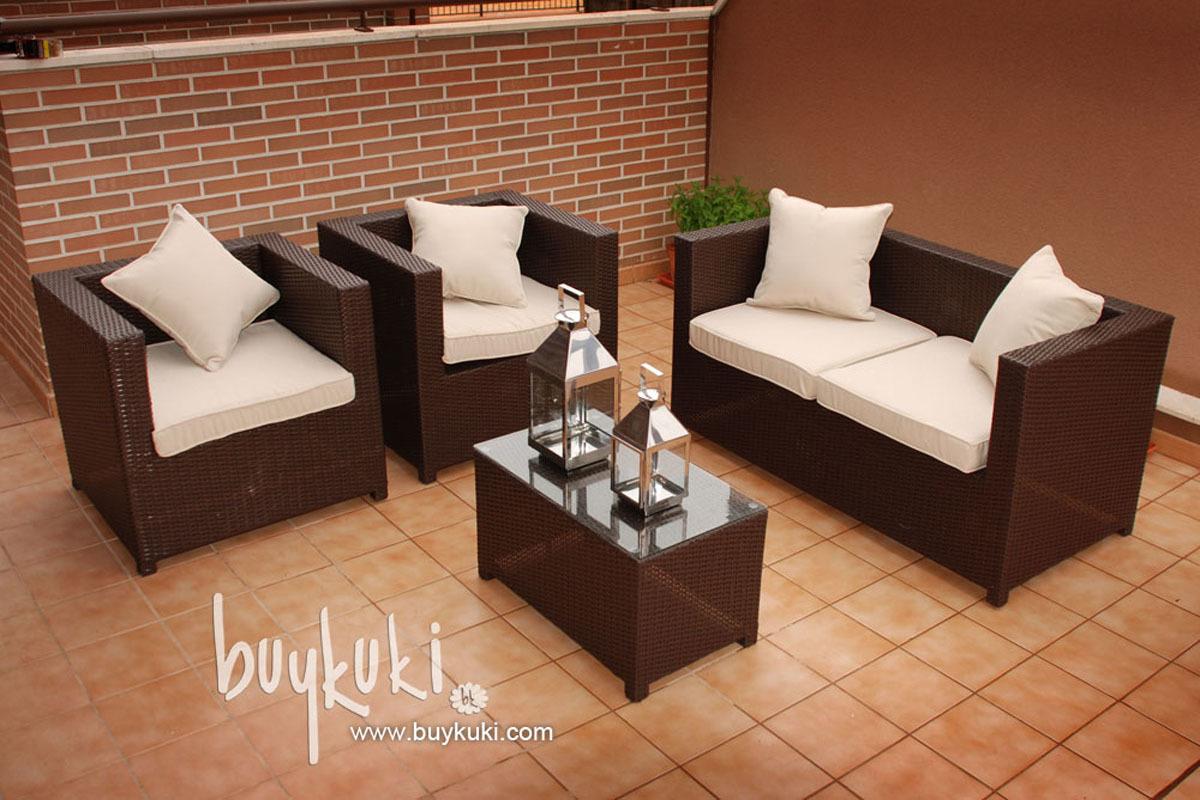 Conjunto sofa y sillones ratan marron buykuki for Sillones de terraza baratos