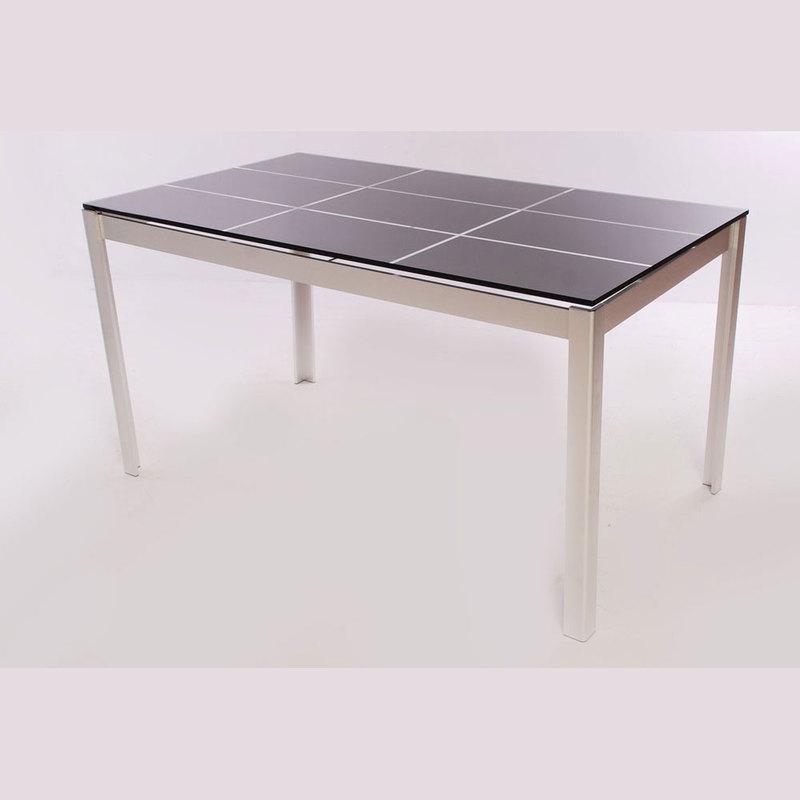 Mesa cristal ahumado 140x85 y aluminio buykuki 00