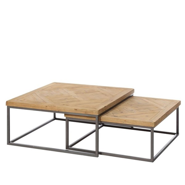 Mesas auxiliares wooden j 2 madera bajas buykuki - Mesa centro industrial ...