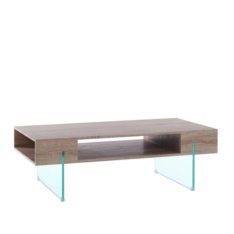 Mesa auxiliar baja deluxe madera cristal buykuki - Mesa baja cristal ...