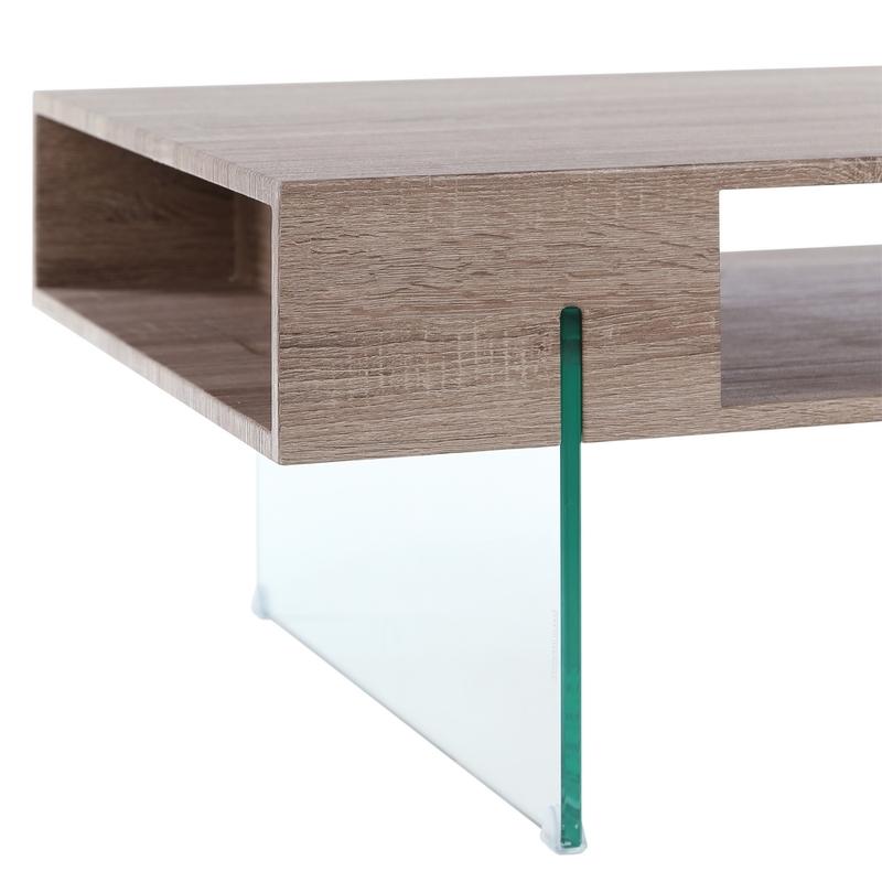Mesa auxiliar baja deluxe madera cristal buykuki - Mesa madera cristal ...