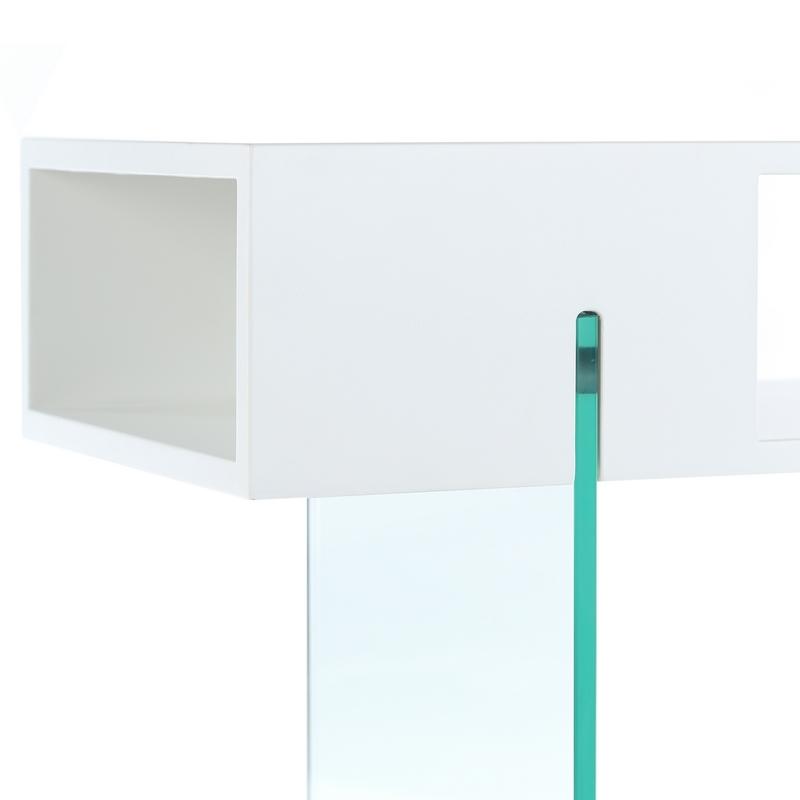 Mesa auxiliar baja deluxe madera cristal blanca buykuki for Mesa cristal exterior